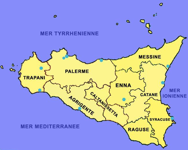"""Résultat de recherche d'images pour """"carte provinces de la sicile"""""""